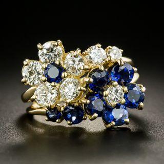 Oscar Heyman Bros. Sapphire and Diamond Double Flower Ring - 2