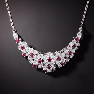 Oscar Heyman Diamond and Ruby Crescent Necklace/Brooch - 1