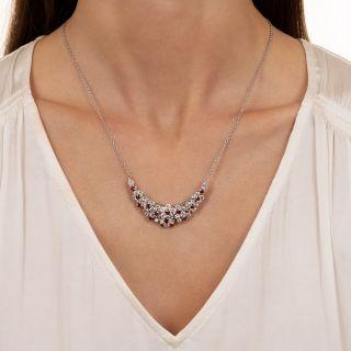 Oscar Heyman Diamond and Ruby Crescent Necklace/Brooch