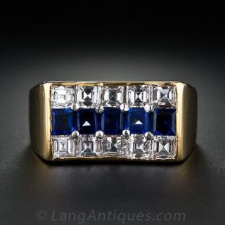 Oscar Heyman Diamond and Sapphire Gent's Ring