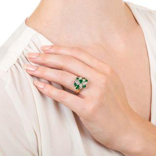 Oscar Heyman Emerald and Diamond Cluster Ring