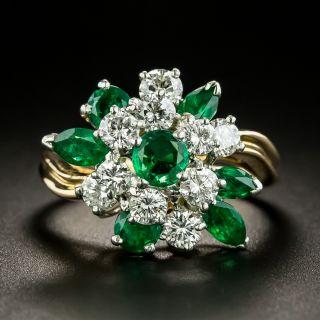 Oscar Heyman Emerald and Diamond Cluster Ring - 3