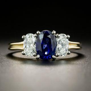 Oscar Heyman Sapphire and Diamond Three Stone Ring - 3