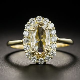 Oval .89 Carat Fancy Yellow-Brown Diamond Ring - GIA - 1