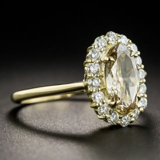 Oval .89 Carat Fancy Yellow-Brown Diamond Ring - GIA