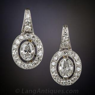 Oval Diamond and Platinum Earrings