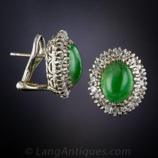 Vintage Natural Jade and Diamond Halo Earrings