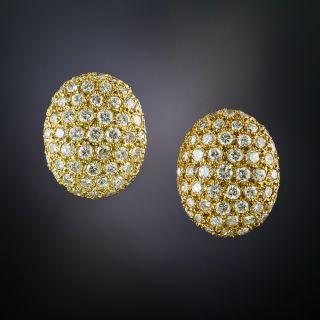 Oval Pavé Diamond Earrings - 1