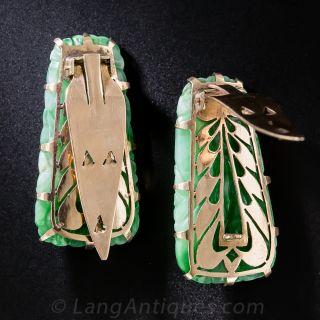 Pair of Carved Jade Clip Pins