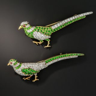 Pair Of Edwardian Demantoid Garnet and Diamond Pheasant Brooches by William Scheer - 1