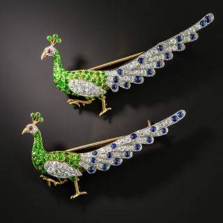 Pair of Edwardian Peacock Brooches by William Scheer  - 1