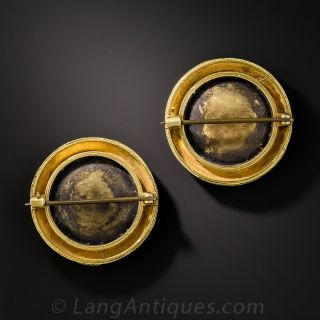 Pair of Etruscan Revival Victorian Micro Mosaic Pins