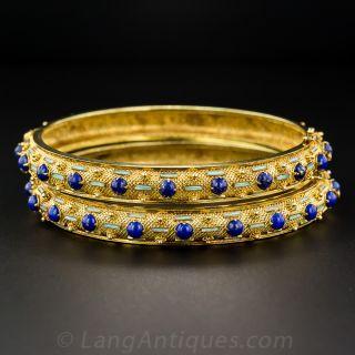 Pair of Lapis Lazuli and Enamel Bangle Bracelets