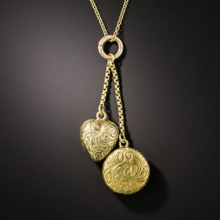 Pair of Petite Victorian Engraved Lockets - 2