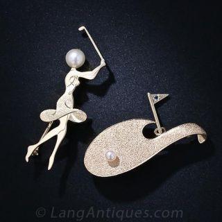 Pair of Ruser Lady's Golfer Pins