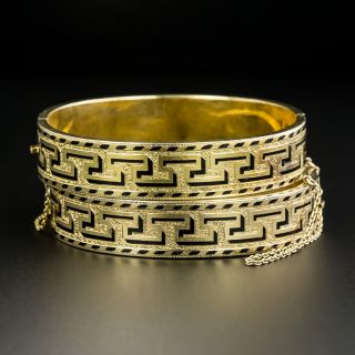 Pair Of Victorian Black Enamel Bangle Bracelets - 2