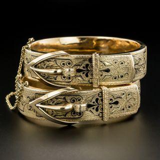 Pair Of Victorian Black Enamel Buckle Motif Bracelets