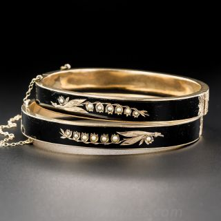 Pair of Victorian Black Enamel Lily-of-the-Valley Bangle Bracelets