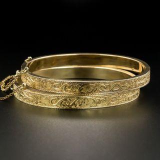 Pair of Victorian Engraved Bangle Bracelets