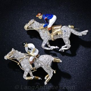 Pair of Vintage Equestrian Brooches