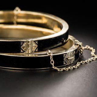 Pair Victorian Black Enamel Bangle Bracelets - 2