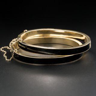 Pair Victorian Black Enamel Bangle Bracelets