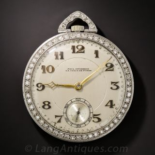 Paul Ditisheim Platinum and Diamond Pocket Watch - 1