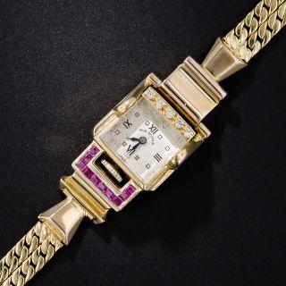 Paul Ditisheim Retro Ruby and Diamond Watch