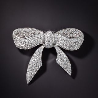 Pavé Diamond Platinum Bow Brooch - 2