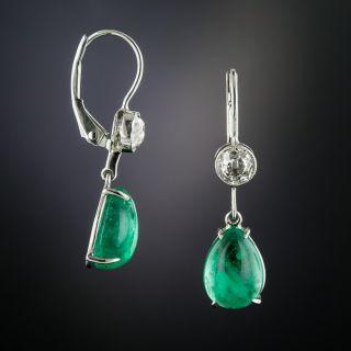 Pear-Cut Emerald Cabochon & Diamond Drop Earrings - 1