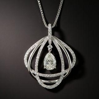 Pear Shape Diamond Platinum Drop Necklace - 1