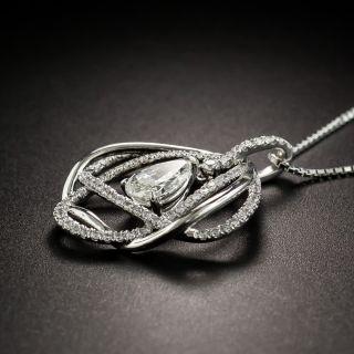 Pear Shape Diamond Platinum Drop Necklace