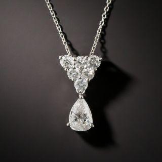 Pear Shape Diamond Platinum Drop - 1