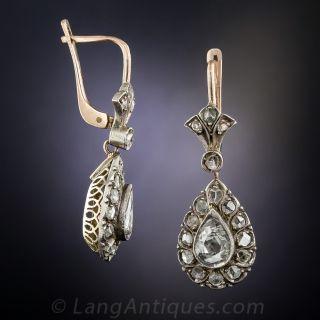 Pear-Shape Rose-Cut Diamond Earrings