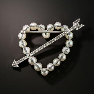 Pearl and Diamond Heart & Arrow Brooch