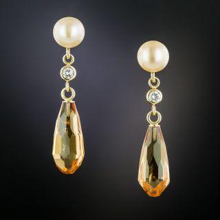 Pearl and Topaz Briolette Drop Earrings - 1