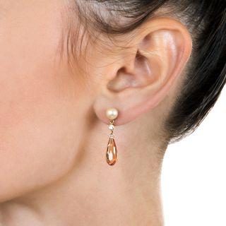 Pearl and Topaz Briolette Drop Earrings