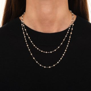 Pearls and Diamonds-by-the-Yard 36-Inch Necklace