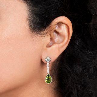 Peridot and Diamond Drop Dangle  Earrings