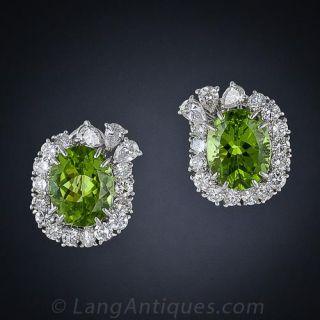 Peridot and Diamond Earrings, Circa 1960s - 1