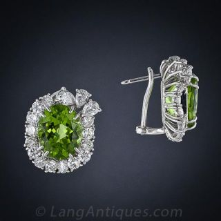 Peridot and Diamond Earrings, Circa 1960s