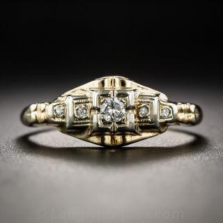 Petite 14K Two-Tone Art Deco Diamond Ring