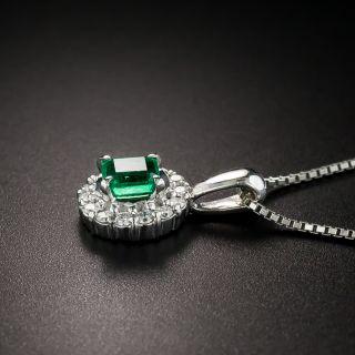Petite .33 Carat Emerald and Diamond Drop