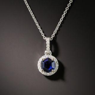 Petite.33 Carat Sapphire and Diamond Halo Pendant - 2