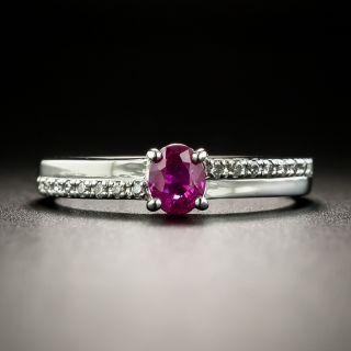 Petite.41 Carat Ruby and Diamond Ring - 2