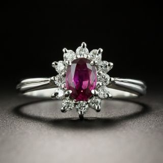 Petite .55 Carat Ruby and Diamond Halo Ring - 2