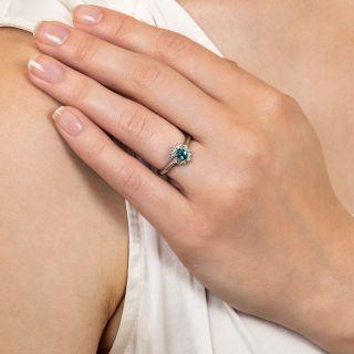 Petite Alexandrite and Diamond Halo Ring