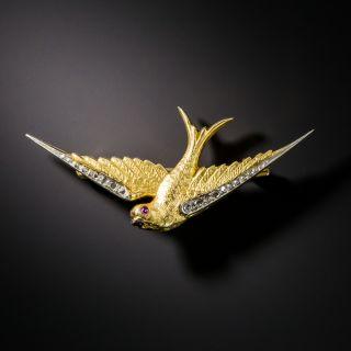Petite Antique Diamond Swallow Brooch - 2