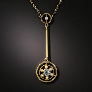 Petite Aquamarine and Pearl Necklace, Circa 1900 - 2