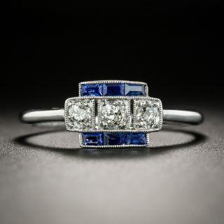 Petite Art Deco Diamond and Sapphire Ring - 2